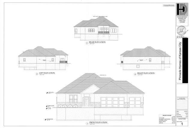 Front, side, and back elevations